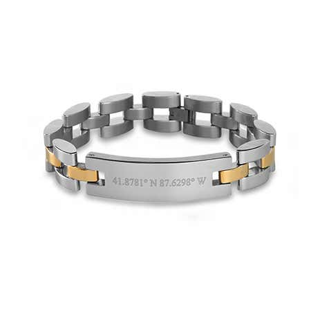 Two Tone Custom Coordinate Watch Link Bracelet
