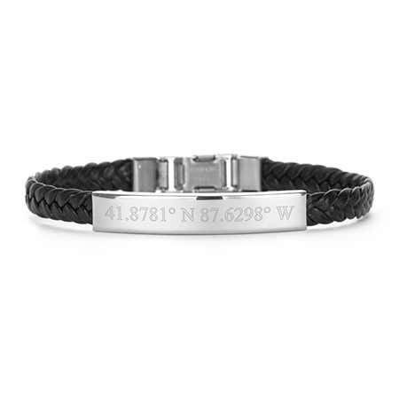 Where can you buy personalized leather bracelets and custom coordinates leather bracelet