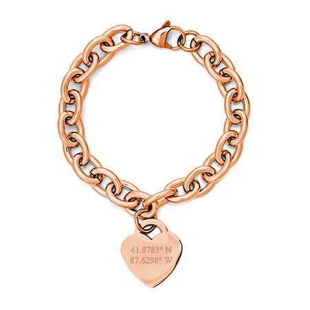 Custom Coordinate Rose Gold Heart Tag Bracelet