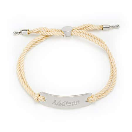display slide 1 of 2 - Bar Rope Bolo Engravable Bracelet - selected slide