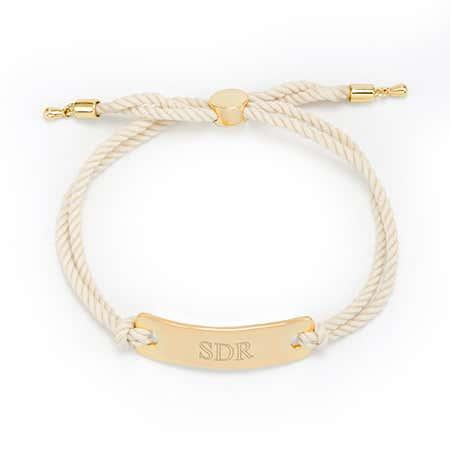 Gold Engravable Bar Rope Bolo Bracelet