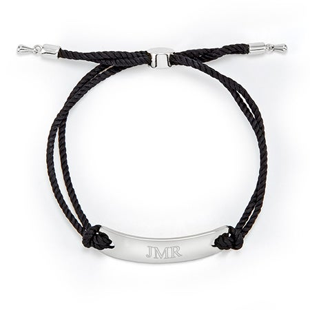 Engravable Silver Bar Rope Bolo