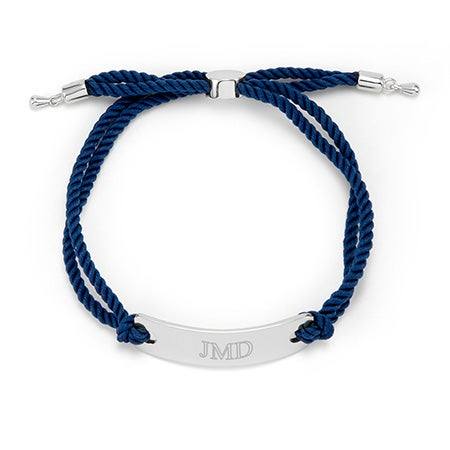 Blue And silver Engravable Bracelet With Rope Design