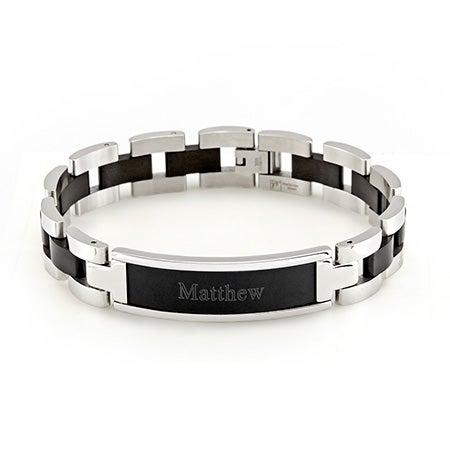 Custom Black Mens Steel Name Bracelet | Eve's Addiction