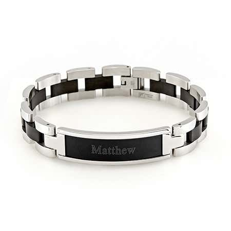 Custom Black Mens Steel Name Bracelet