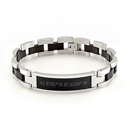 Mens Black Coordinates Steel Bracelet | Eve's Addiction