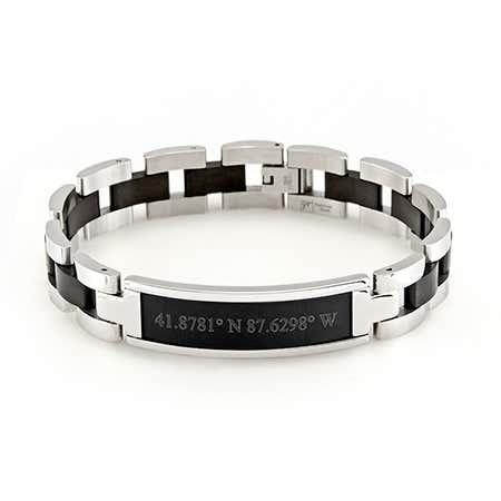 Mens Black Coordinates Steel Bracelet