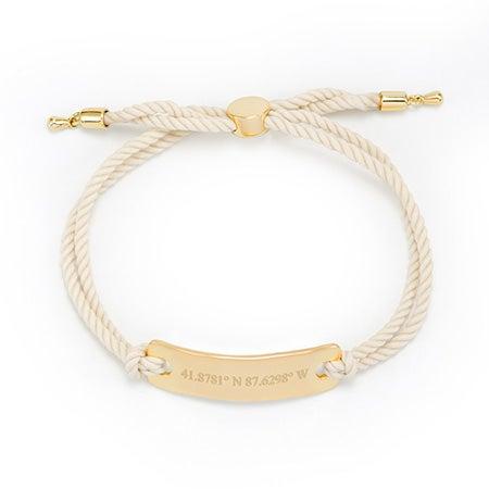 White Rope Bolo Bracelet   White Coordinates Bracelet