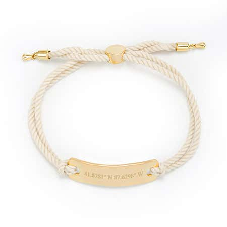display slide 1 of 2 - White Rope Bolo Bracelet | White Coordinates Bracelet - selected slide