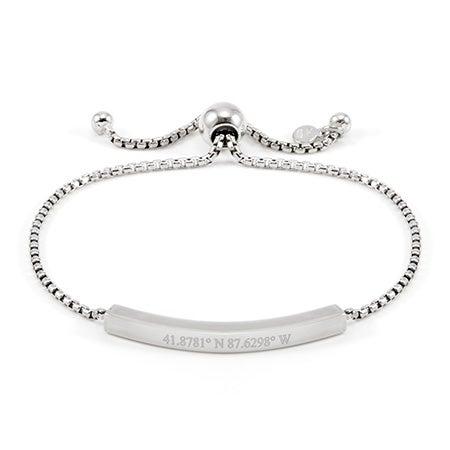 Custom Coordinates Silver Bolo Bracelet | Eves Addiction