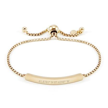 Gold Bolo Custom Coordinates Bracelet | Eve's Addiction