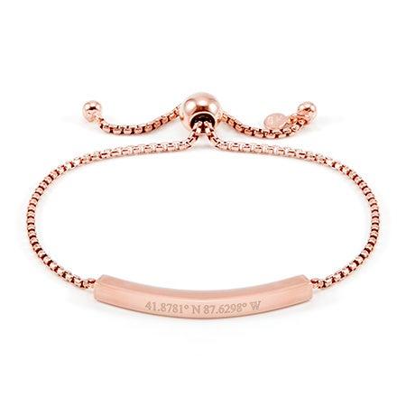 Rose Bolo Custom Coordinates Bracelet | Eve's Addiction