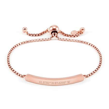 Rose Bolo Custom Coordinates Bracelet