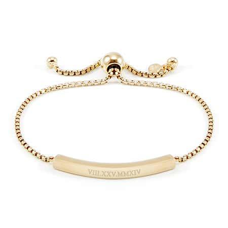 Custom Gold Roman Numeral Bolo Bracelet | Eves Addiction
