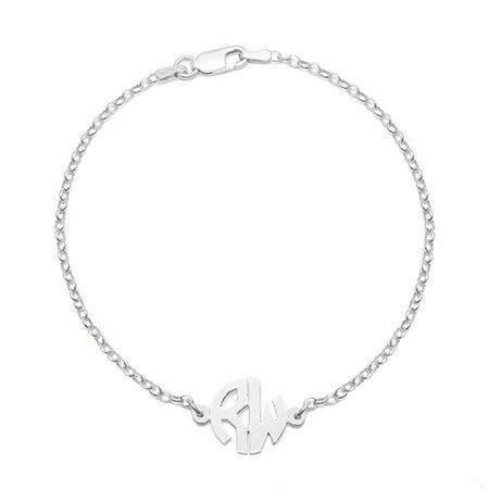 Petite Silver 2 Initial Cut Out Block Monogram Bracelet