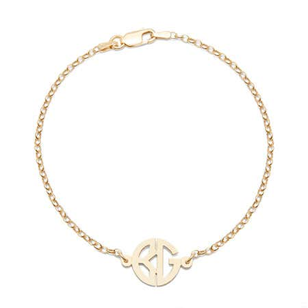 Personalized Two Initial Round Gold Monogram Bracelet
