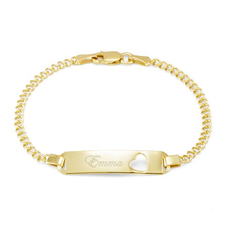 Engravable Gold Baby ID Heart Cut Out Bangle Bracelet