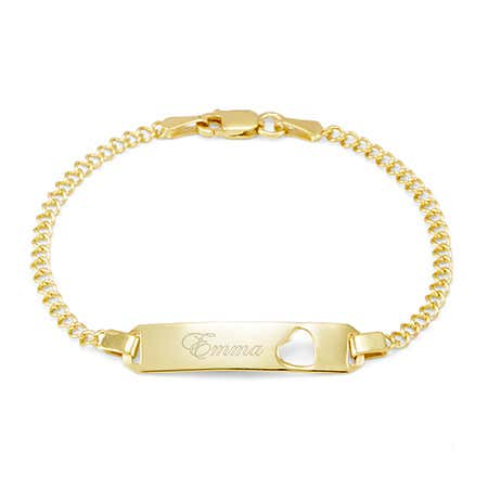 Engravable Gold Baby ID Heart Cut Out Bangle Bracelet