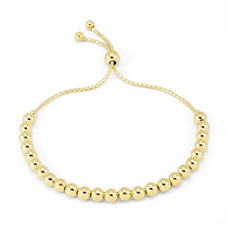 Gold Beads Bolo Bracelet   Adjustable Gold Beaded Bolo