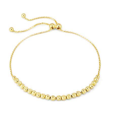 Diamond-Cut Gold-Plated Sterling Silver Bolo Beaded Bracelet