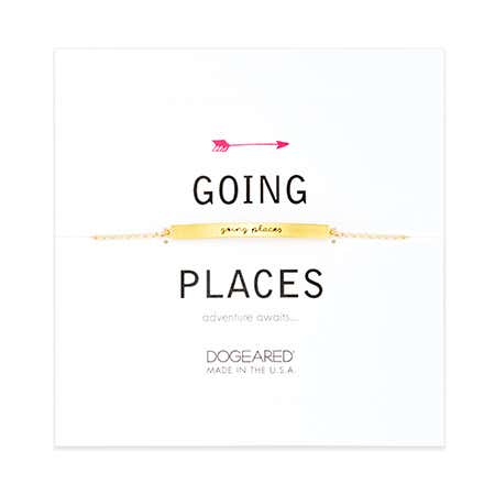 display slide 1 of 2 - Dogeared Gold Plated Going Places Message Bracelet - selected slide