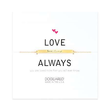 Dogeared Love Always Gold Plated Message Bar Bracelet