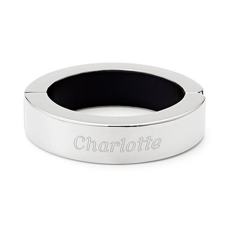 Engraved Phone Charger Bangle Bracelet in Stainless Steel