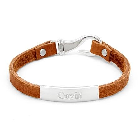 Custom Made Men's ID Light Brown Leather Fish Hook Bracelet
