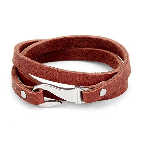 Men's Brown Leather And Steel Fish Hook Wrapping Bracelet