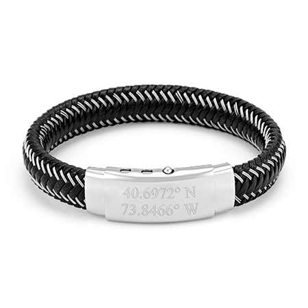 Custom Coordinate Men's Black Leather & Wire Braid Bracelet