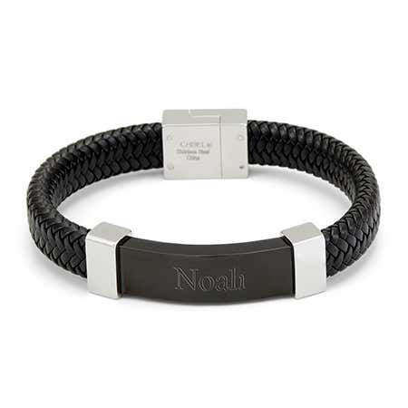 Custom Engraved Men's Black ID Braided Leather Bracelet