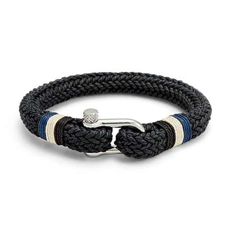 Mens Woven Black Cotton And Stainless Steel Shackle Bracelet
