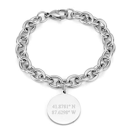 Personal Coordinate Round Tag Link Bracelet Stainless Steel