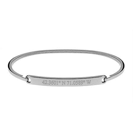 Thin Bangle Bracelet With Coordinates Engraved in Steel