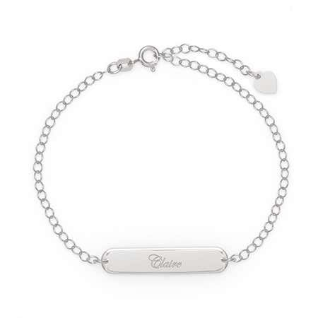 Custom Engravable Oval Name Bar Silver Heart Charm Bracelet