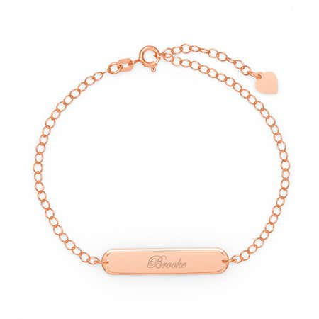 Custom Made Engravable Oval Name Bar Rose Gold Bracelet