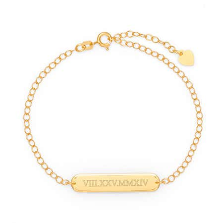 Personalized Roman Numeral Oval Name Bar Gold Bracelet