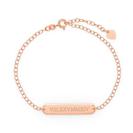 Customized Roman Numeral Oval Name Bar Rose Gold Bracelet