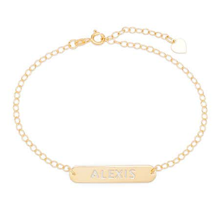 Customizable Oval Name Bar Cutout Gold Nameplate Necklace