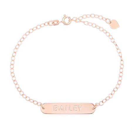 Customized Oval Name Bar Cutout Rose Gold Nameplate Bracelet
