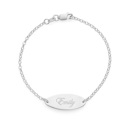Custom Engraved Oval Plate Name Bracelet in Sterling Silver
