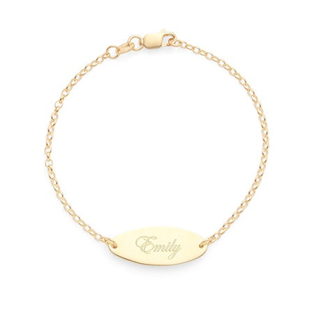 Personalized Engravable Gold Plated Silver Oval Bracelet