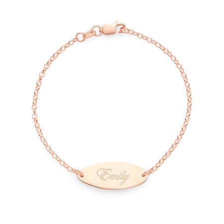 Engravable Oval Plate Rose Gold Plated Etched Bracelet