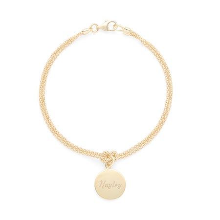 Custom Engravable Round Tag Rope Chain Gold Plated Bracelet