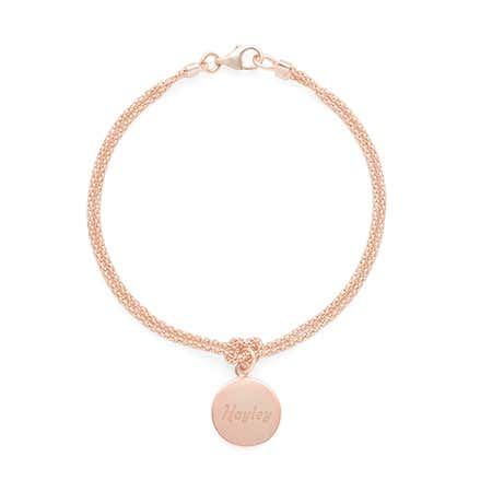 Personalized Rose Gold Round Dangle Tag Rope Chain Bracelet