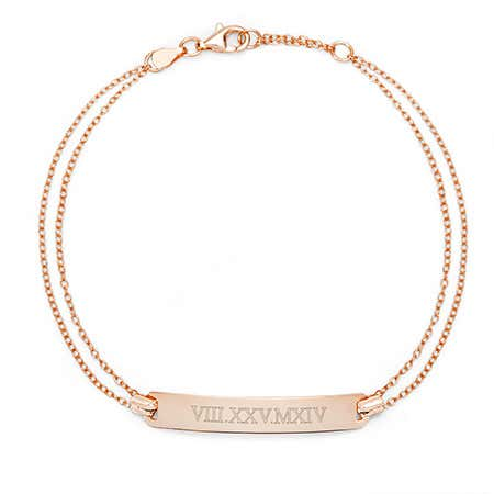 Personalized Rose Gold Dual Chain Roman Numeral Bracelet