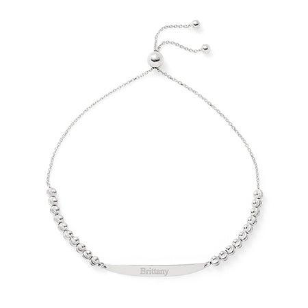 Engravable Identification Diamond Cut Silver Bolo Bracelet