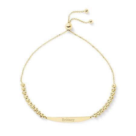 Custom Made Engravable ID Diamond Cut Gold Bolo Bracelet