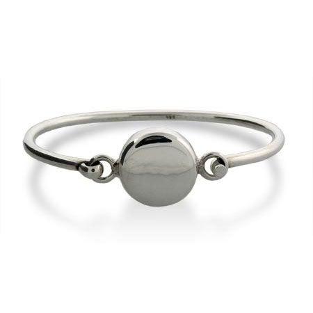 Sterling Silver Round Tag Bangle Bracelet | Eve's Addiction®