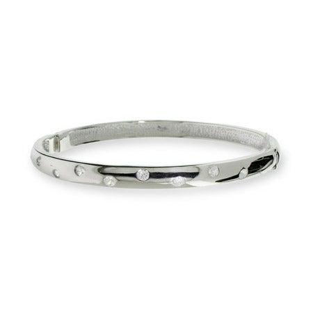 Twinkling CZ Sterling Silver Bangle Bracelet | Eve's Addiction®